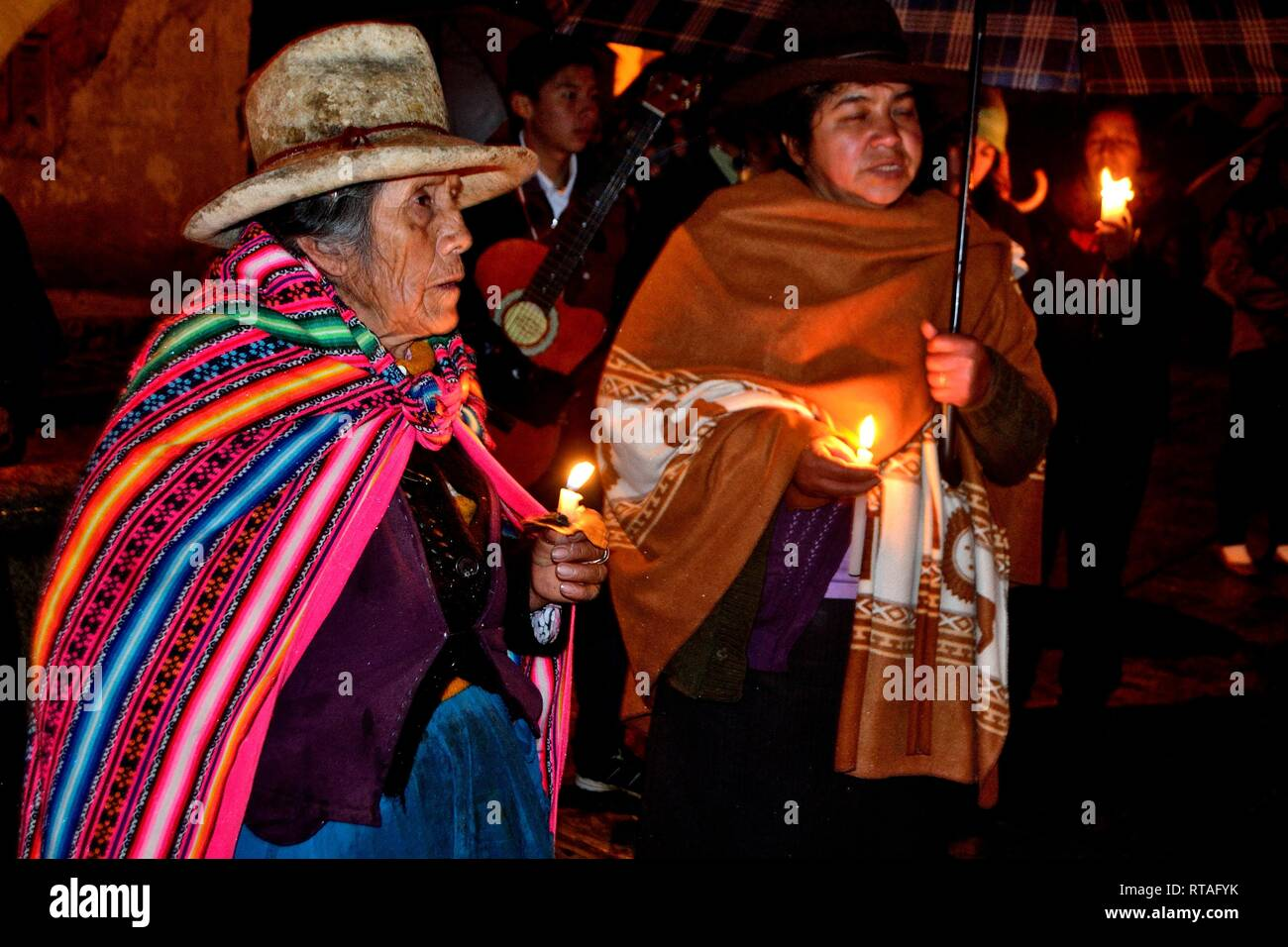 Mama Ashu Virgin Procession in Holy Week  in CHACAS - National park HUASCARAN. Department of Ancash.PERU            											  					  			 	  	  			  - Stock Image