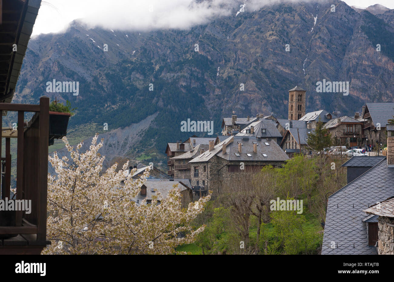 Views of Taull. Catalan Romanesque Church of Saint Climent in Taull, Vall de Boi, Catalonia, Spain - Stock Image