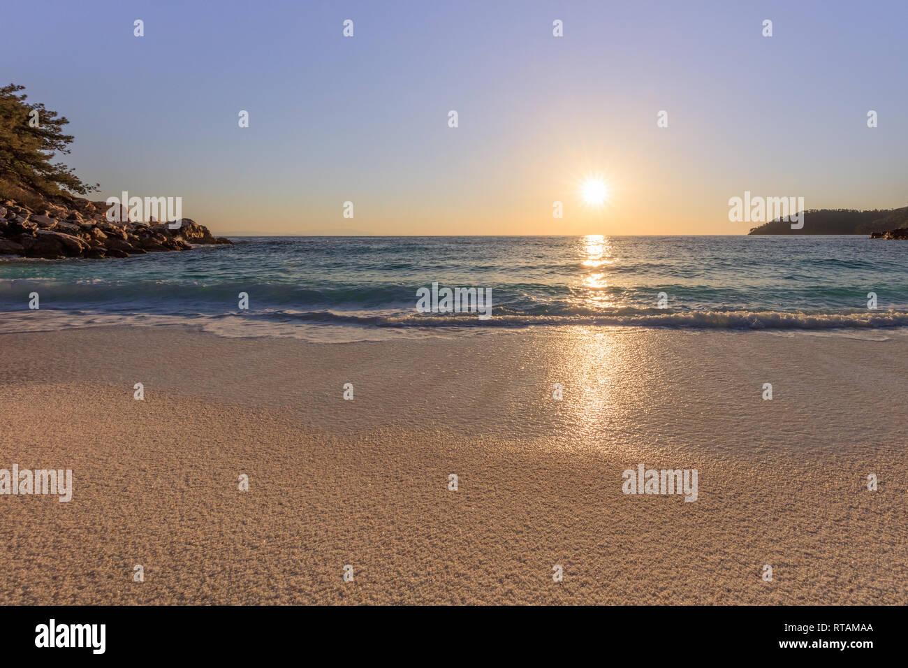 sunrise in Marble beach (Saliara beach), Thassos Islands