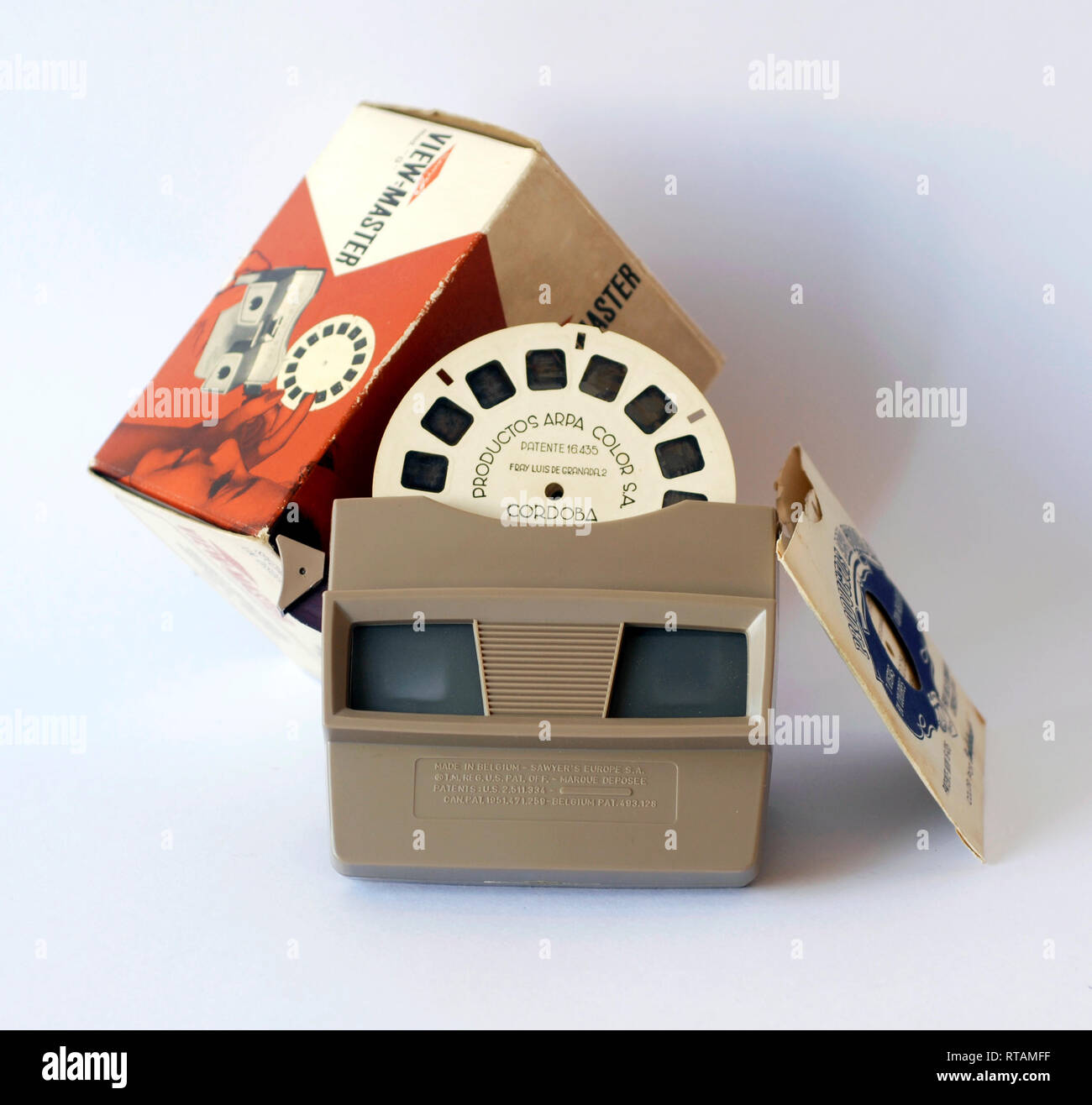Old stereoscopic slide viewer. Brand View Master Stock Photo