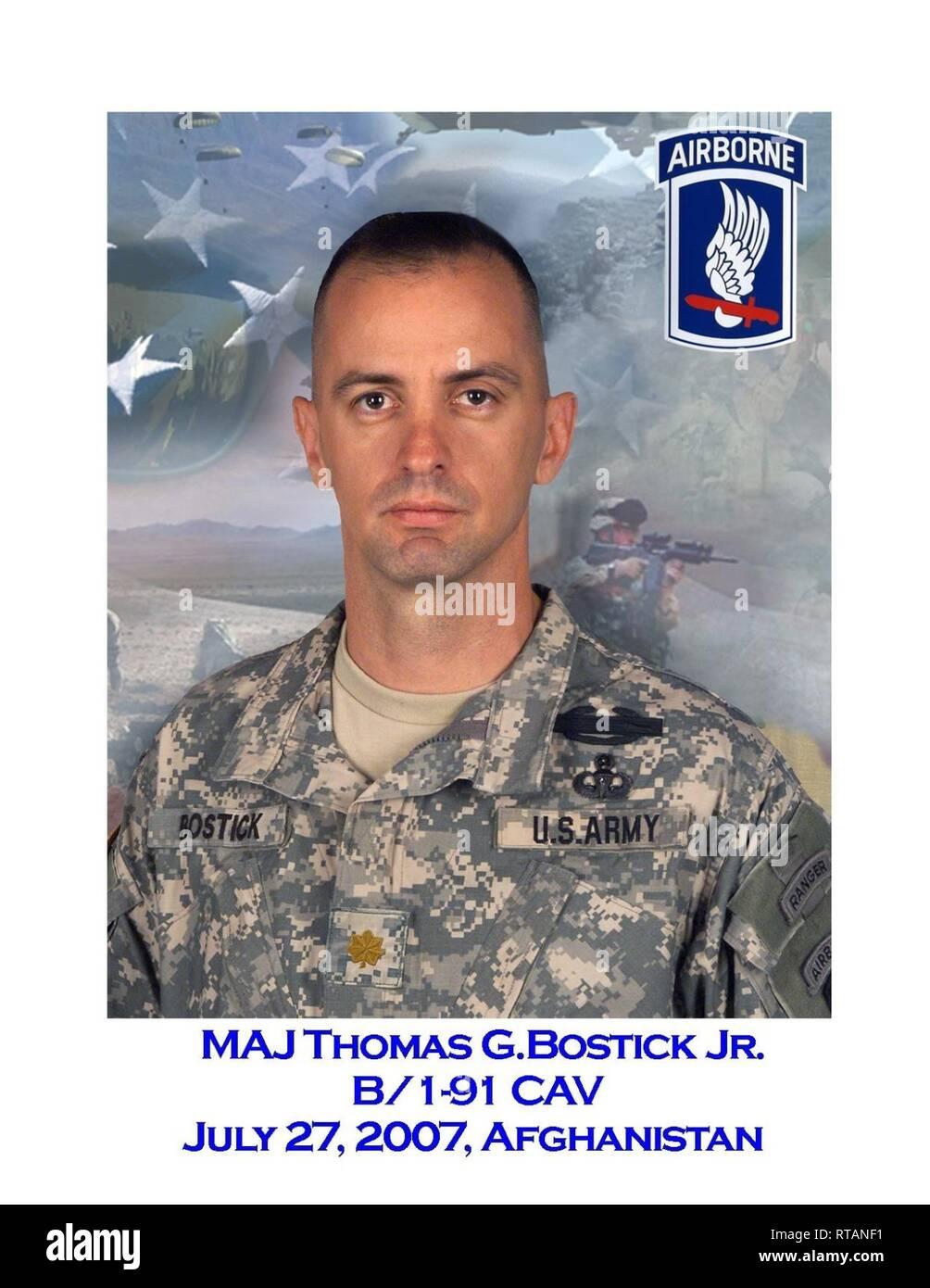 Maj. Thomas Bostick commanded Bulldog Troop, 1st Squadron, 91st Cavalry - Stock Image