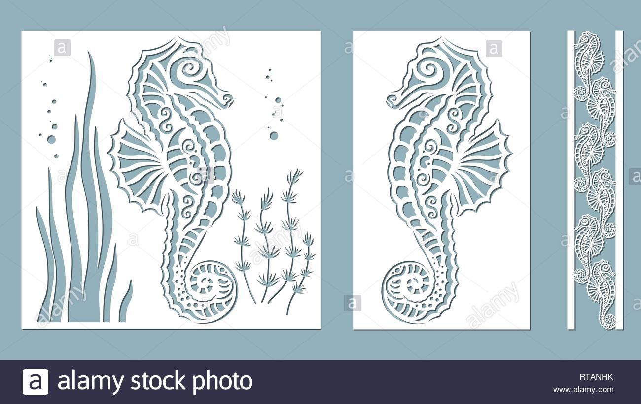 seahorse, algae, Kelp, (Brown alga, Posidonia). Vector illustration. Laser cut. Set template for laser cutting and Plotter. Vector illustration. Stick - Stock Image