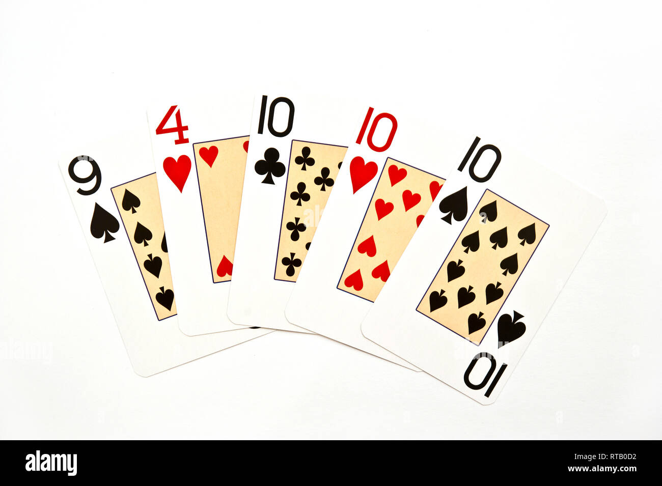 poker hand Three of a Kind - Stock Image