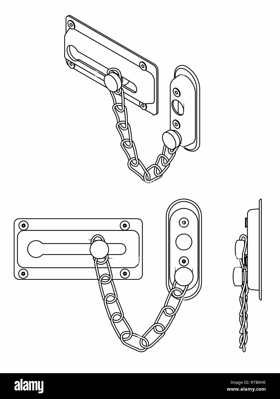 Chain door lock. Outline only. Stock Vector