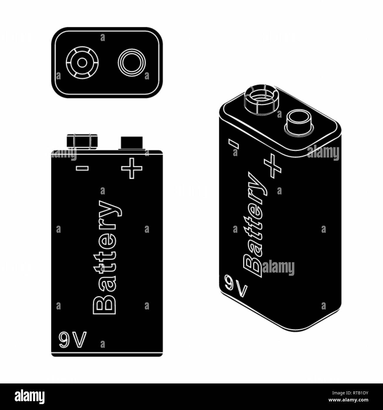 Traditional Battery 9V. Black fill. - Stock Vector