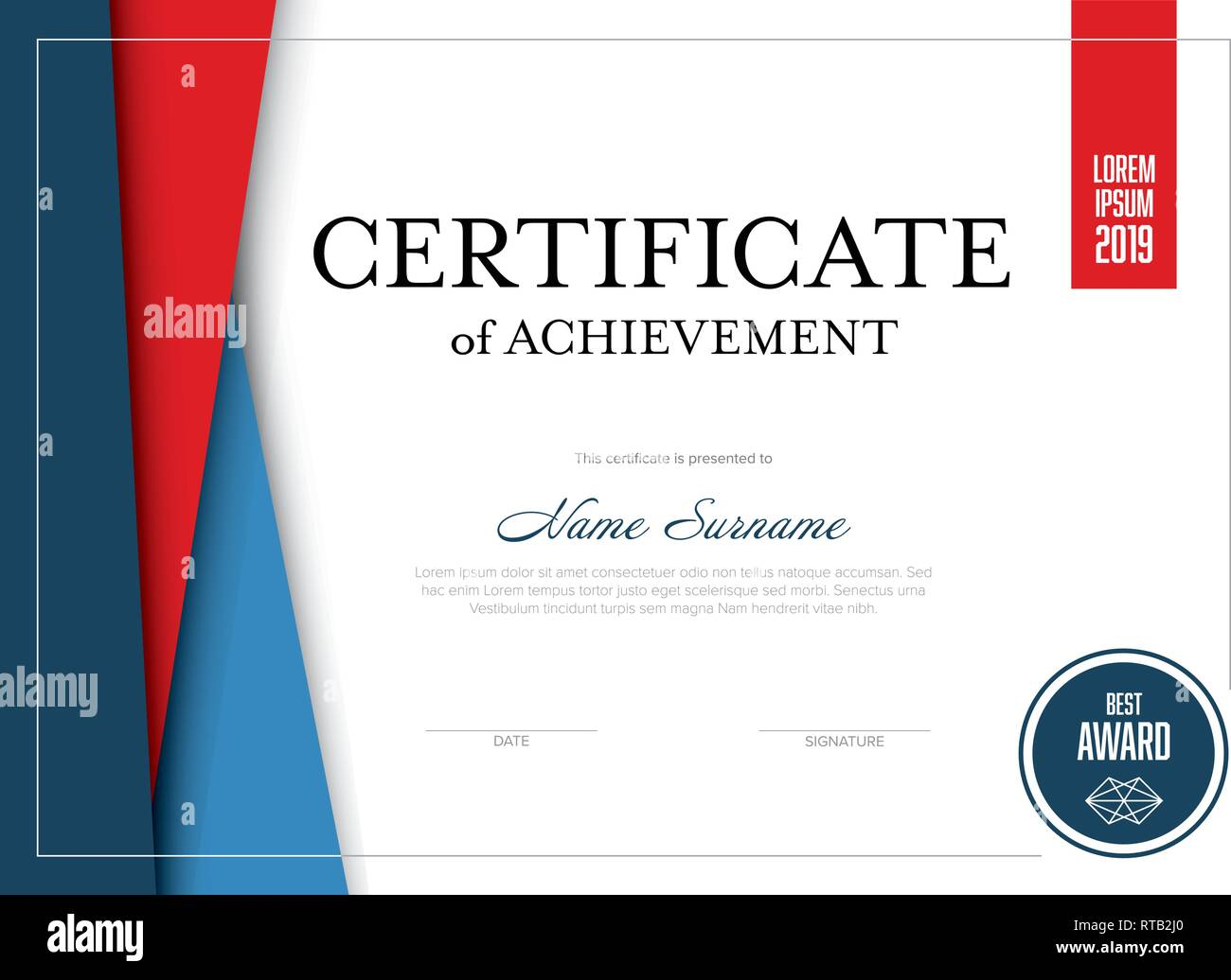 Modern Certificate Of Achievement Template With Place For Your