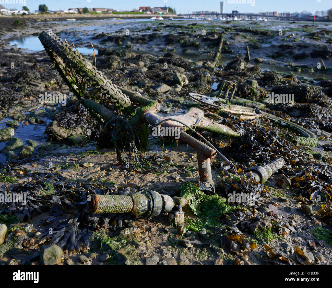 Bicycle thoughtlessly discarded to the sea. Once someones treasured possession, now needlessly dumped and polluting. - Stock Image