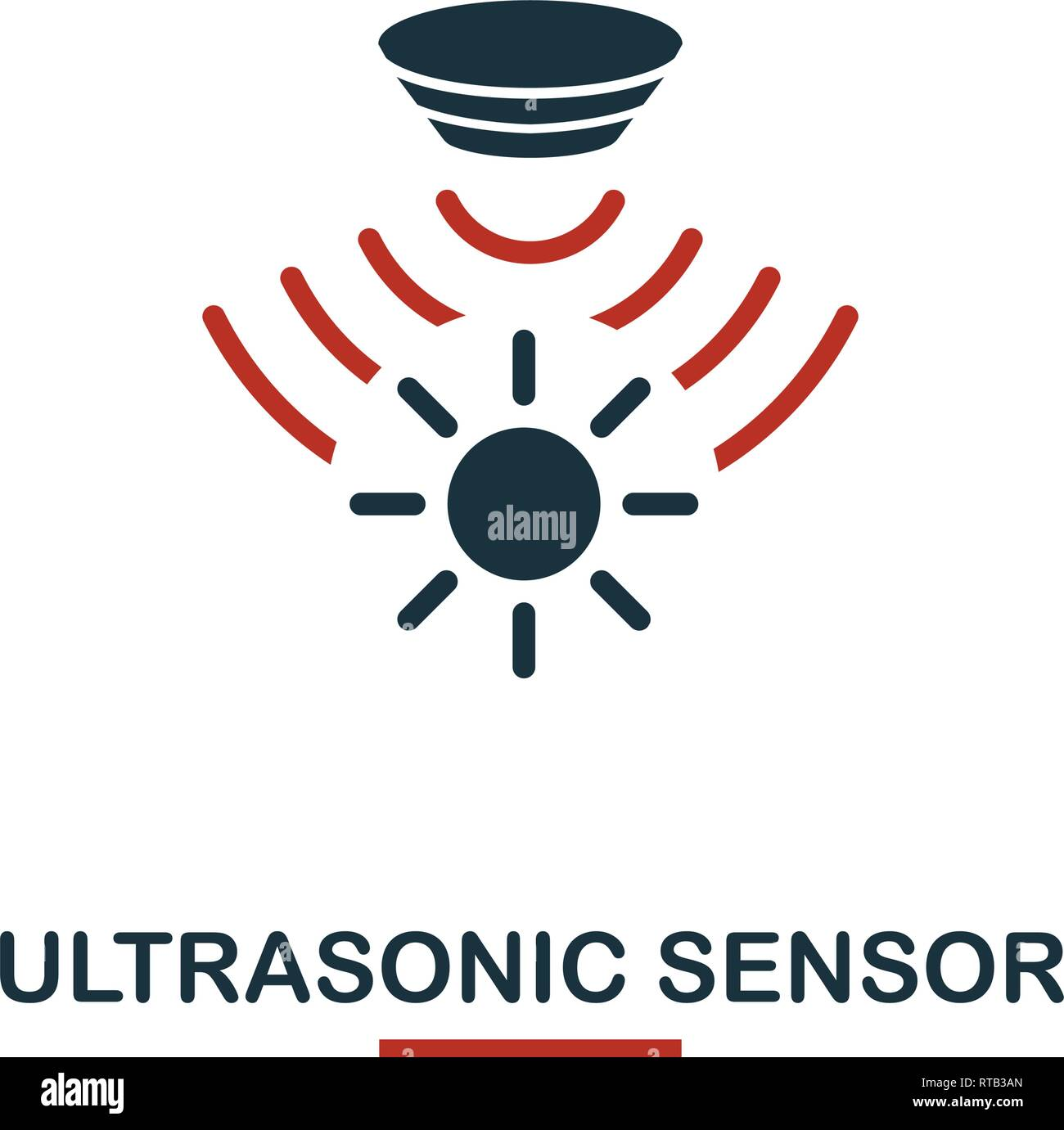 Ultrasonic Sensor icon from sensors icons collection. Creative two colors design symbol ultrasonic sensor icon. Web design, apps, software usage. UI - Stock Image