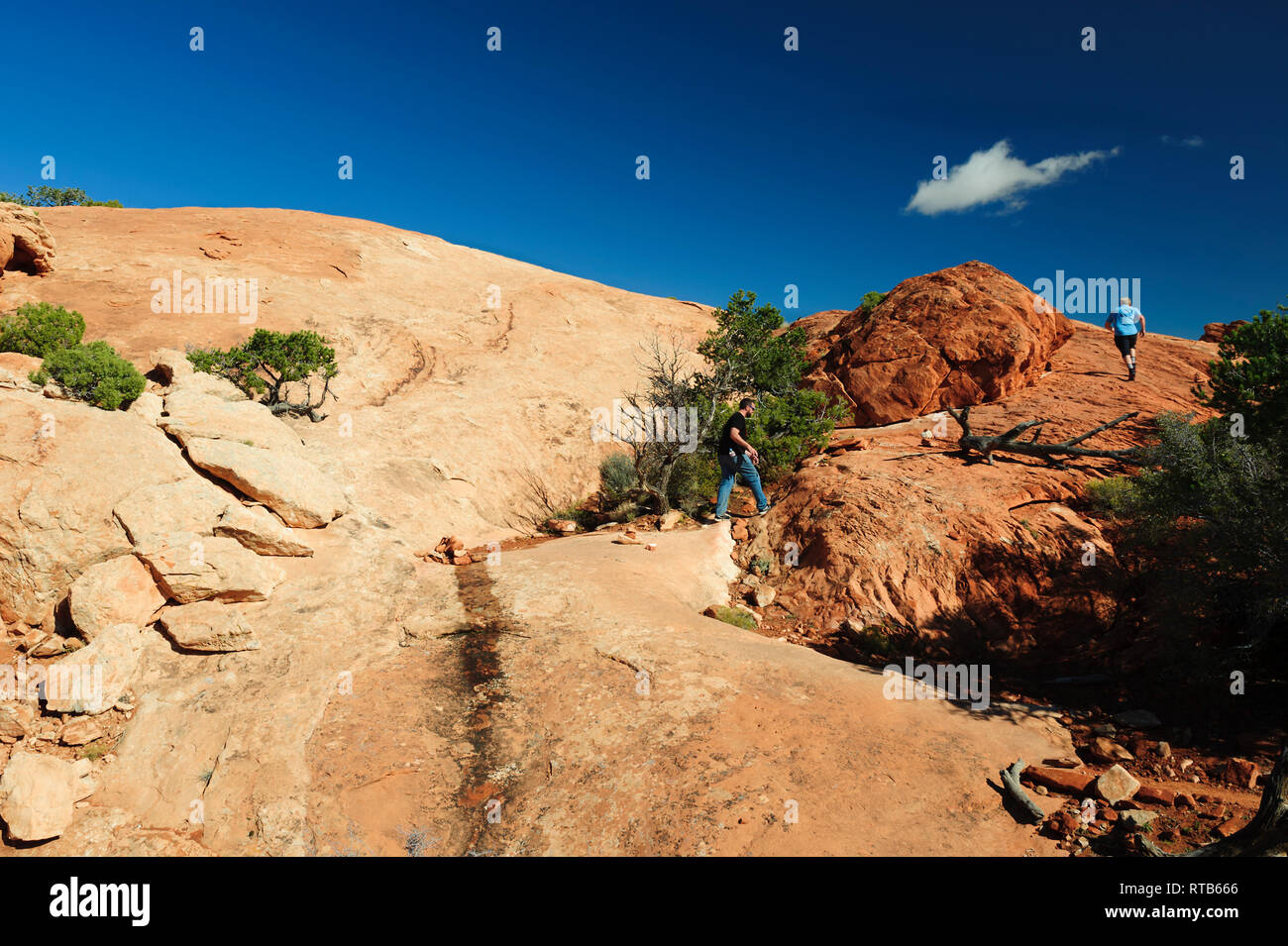 Two men hiking on Upheaval Dome Overlook trail, Canyonland National Park, Utah, USA - Stock Image
