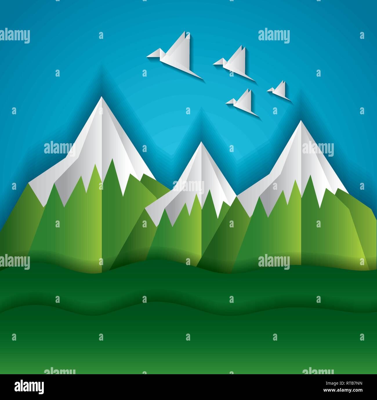 paper origami landscape - Stock Vector