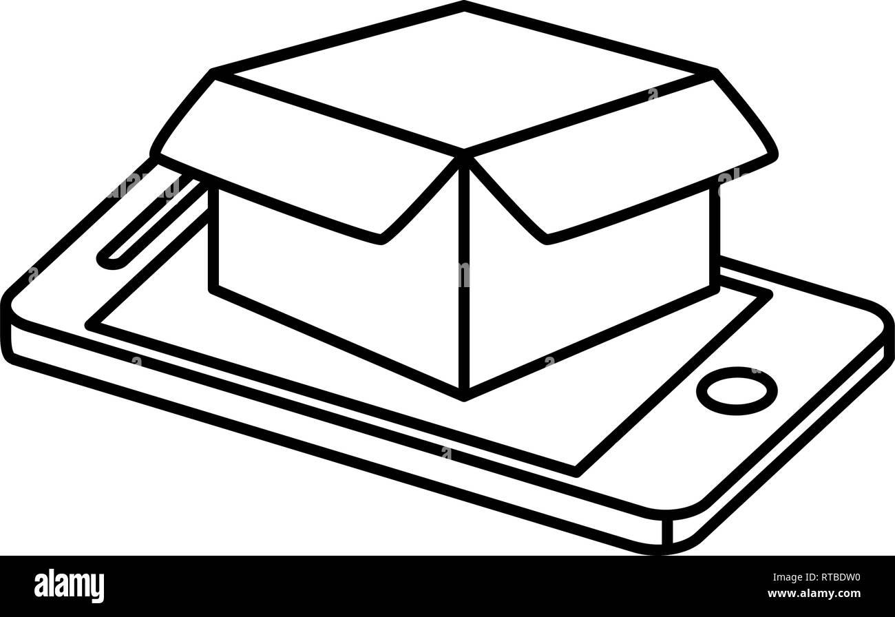 smartphone with box carton vector illustration design - Stock Image
