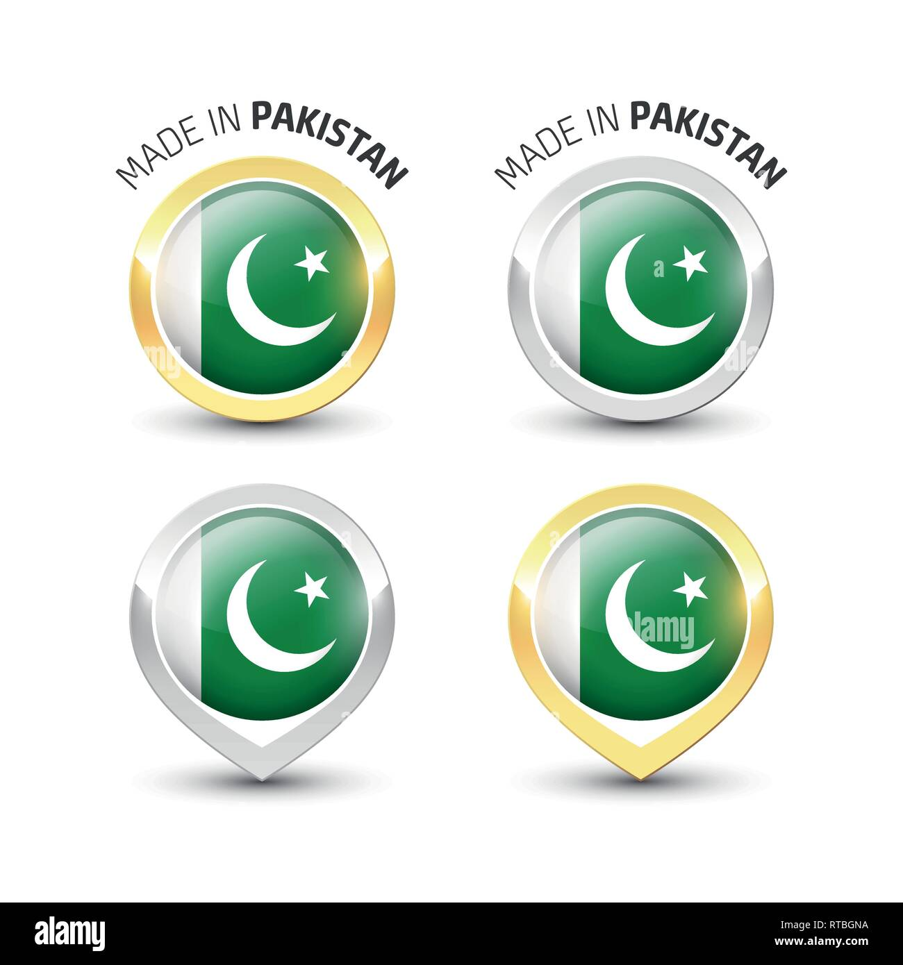 ca776ccfdd Made in Pakistan - Guarantee label with the Pakistani flag inside round  gold and silver icons