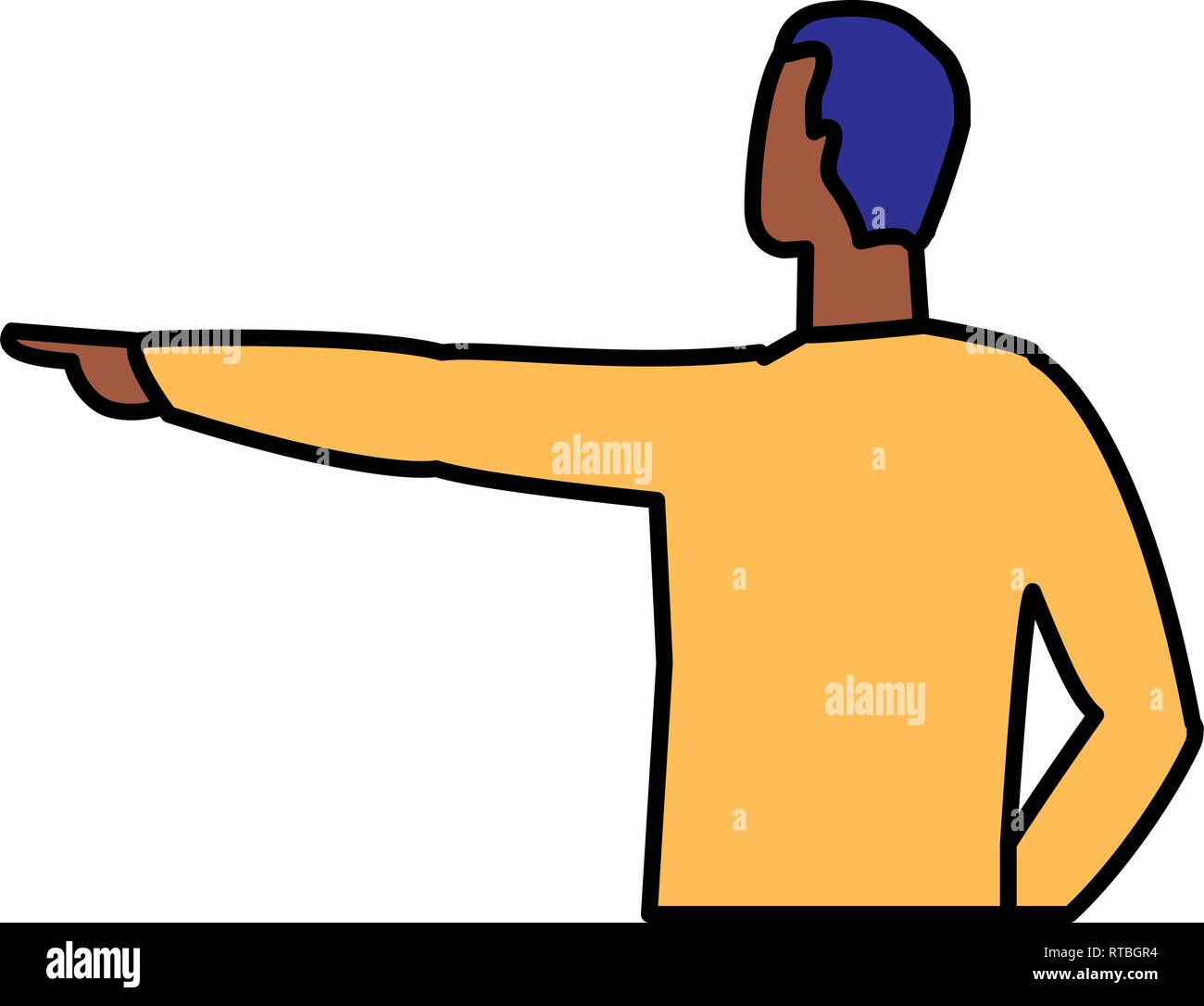 young and casual black man character vector illustration design - Stock Image