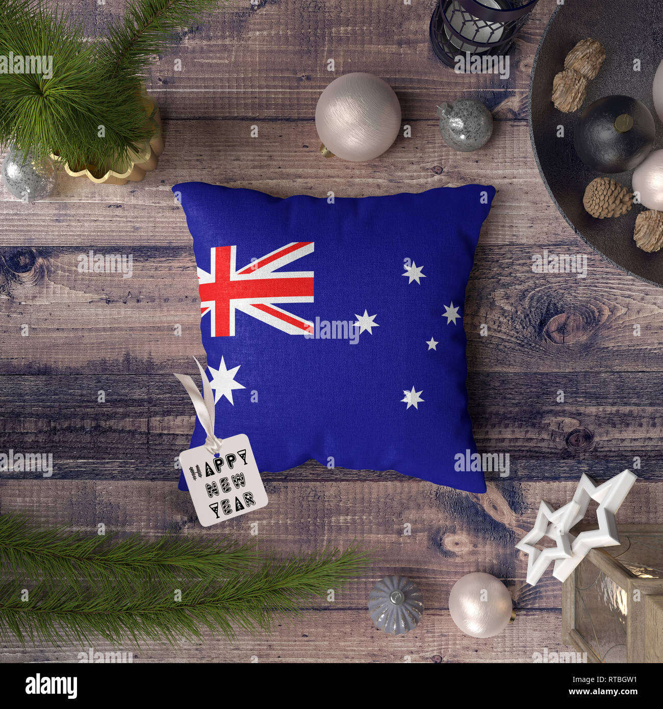 Happy New Year Tag With Australia Flag On Pillow Christmas