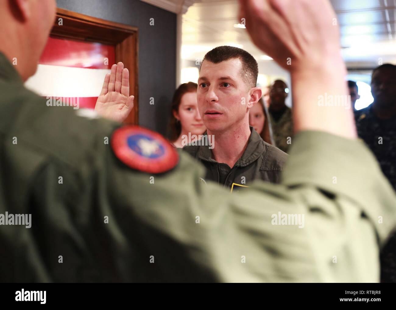 NEWPORT NEWS, Va  (Feb  8, 2019) Cmdr  Jeremy Vaughan, from Las