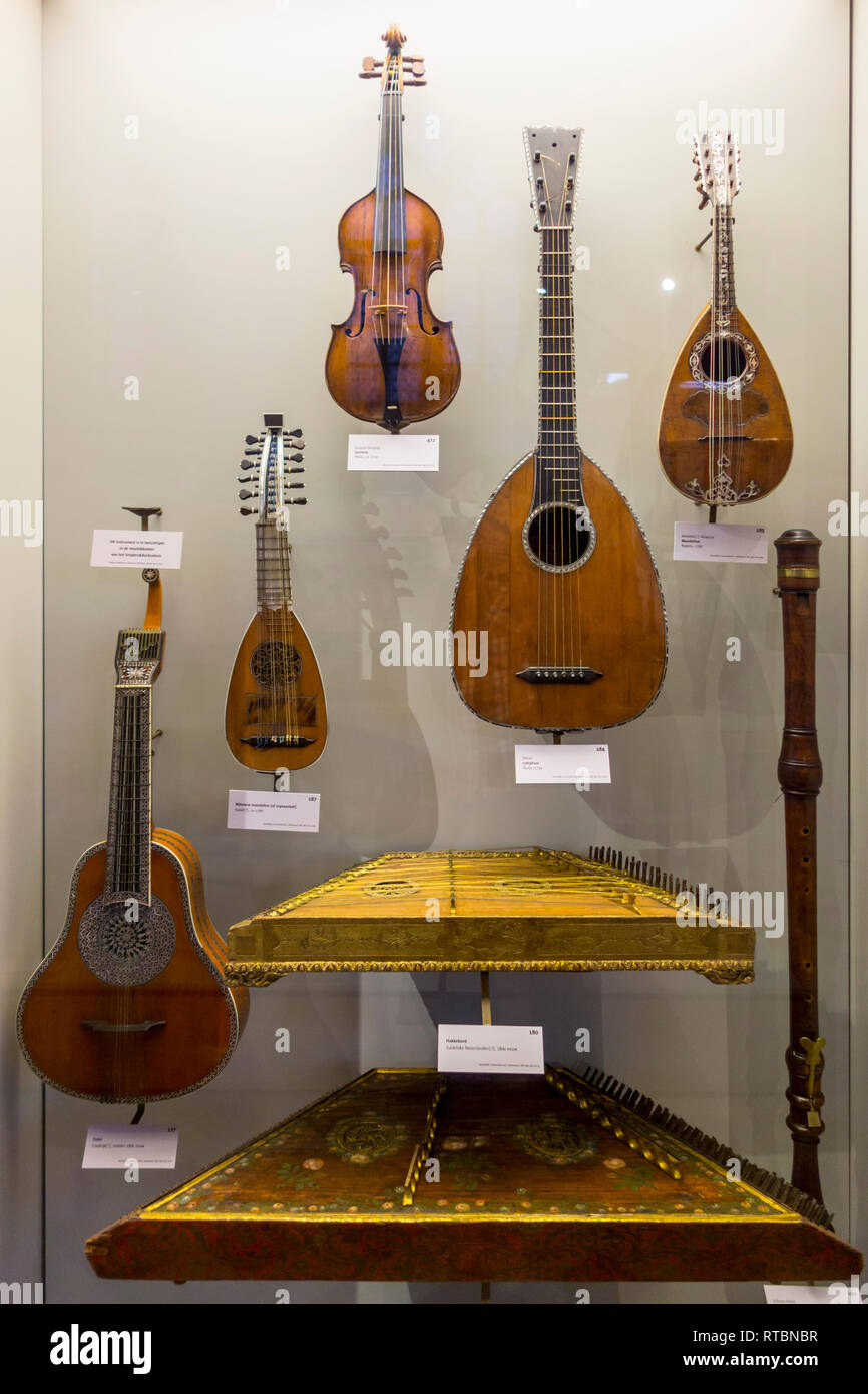 Collection of 18th century string instruments in the Vleeshuis / Butcher's Hall / Meat House, museum about musical instruments in Antwerp, Belgium - Stock Image
