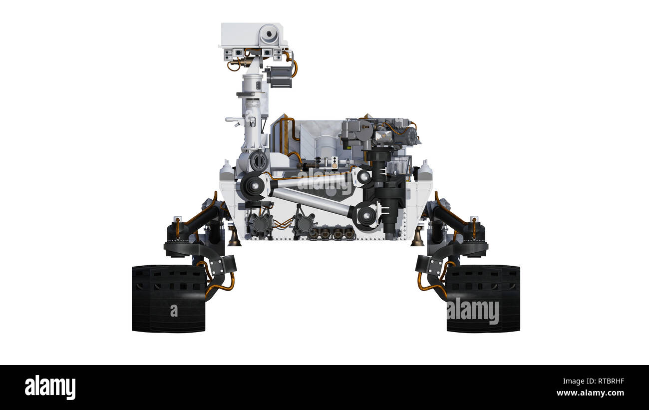 Mars Rover, automated space motor vehicle isolated on white background, front view, 3D illustration - Stock Image