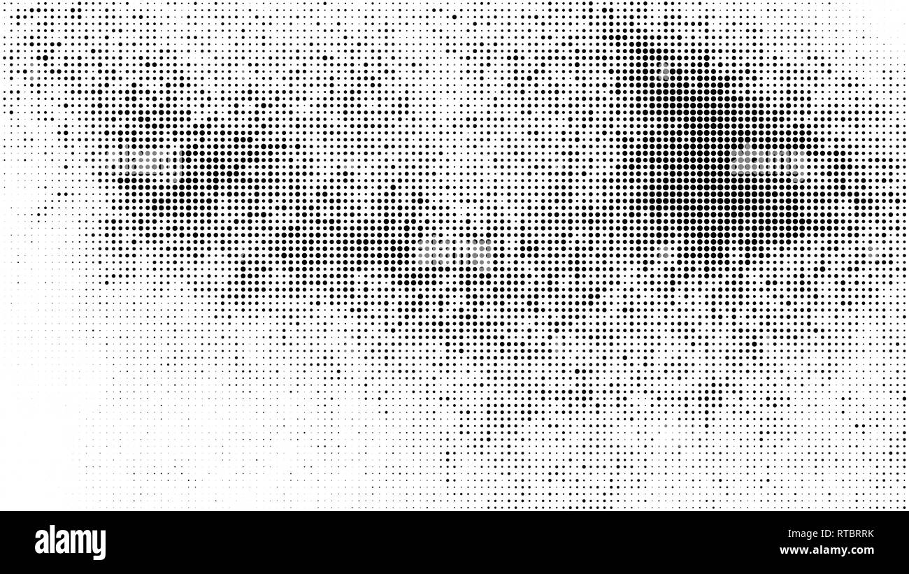 Black Halftone Texture On White Background. Modern Dotted Futuristic Backdrop. Fade Noise Overlay. Digitally Generated Image. Pop Art Style. Vector Il - Stock Image