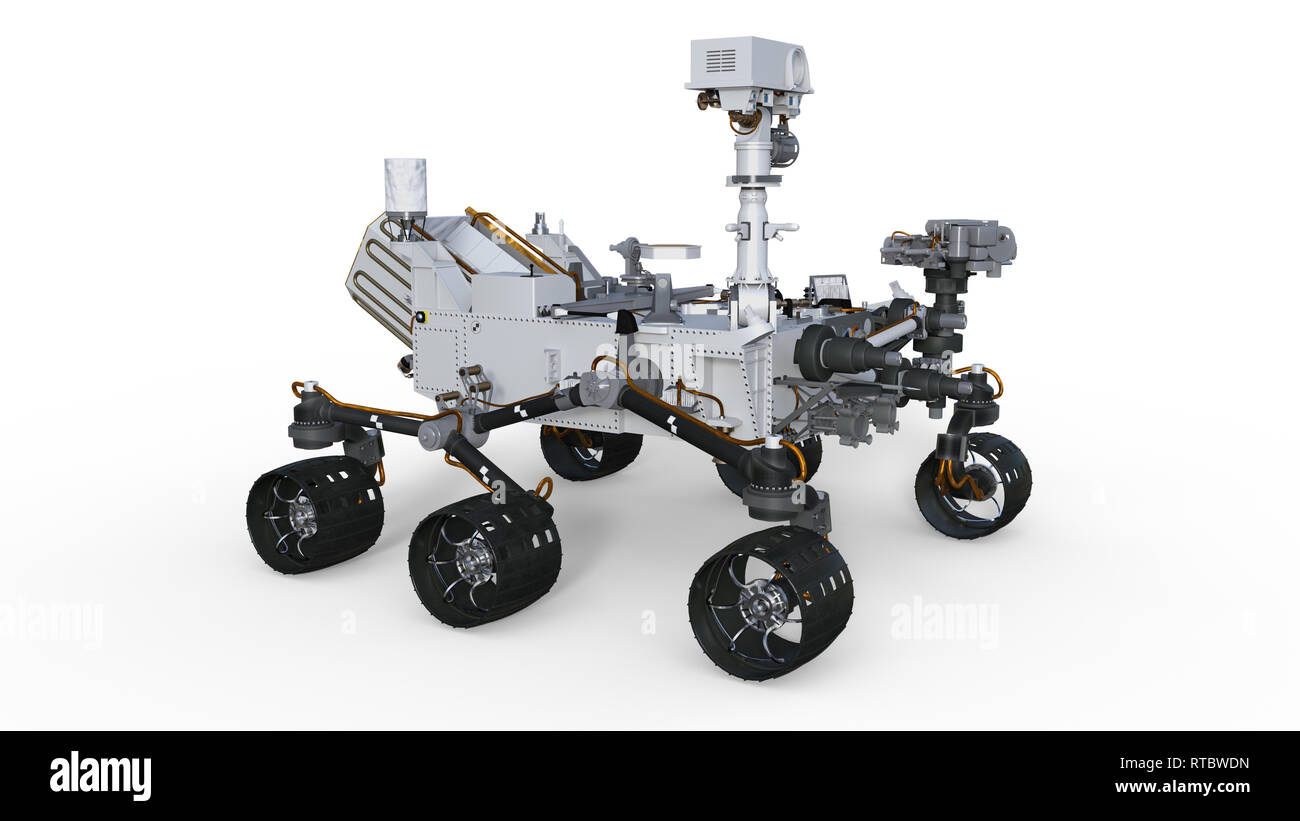 Mars Rover, automated space motor vehicle isolated on white background, 3D illustration - Stock Image