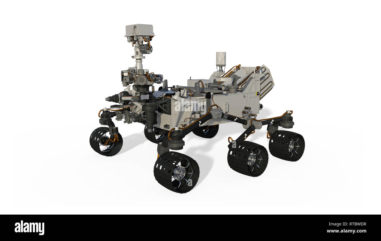 Mars Rover, Space Vehicle isolated on white background, 3D illustration - Stock Image