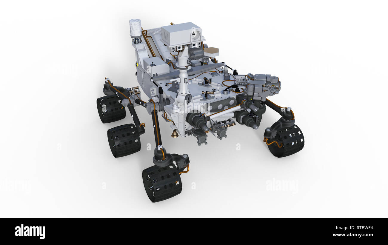 Mars Rover, robotic space motor vehicle isolated on white background, 3D illustration - Stock Image