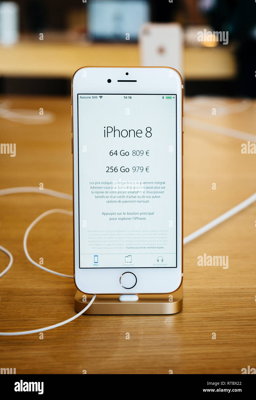 PARIS, FRANCE - SEP 22, 2017: New iPhone 8 and iPhone 8 Plus, as well the updated Apple Watch, Apple TV goes on sale today in Apple Store with price for the device in Euros  Stock Photo
