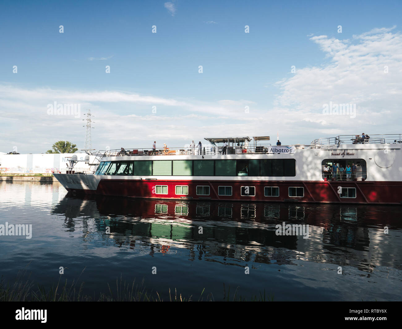 STRASBOURG, FRANCE - JUNE 27, 2017: River cruising boat in Strasbourg on warm summer day - MS Sound of Music is a deluxe river cruise vessel chartered exclusively by Gate 1 Travel  - Stock Image
