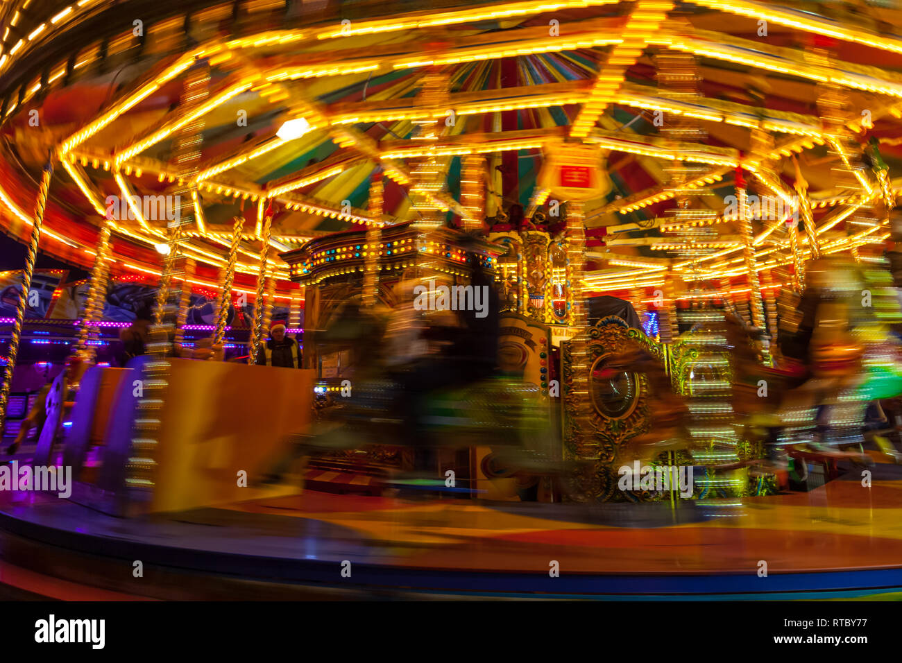 Lincoln Fair Merry-go-round at the Christmas market Stock Photo
