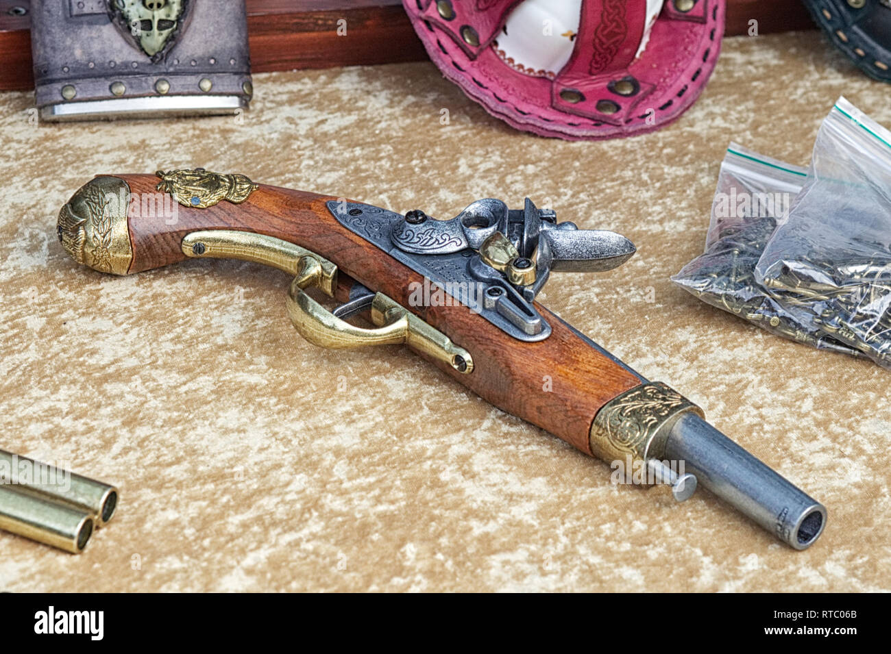steampunk weaponry on display - Stock Image