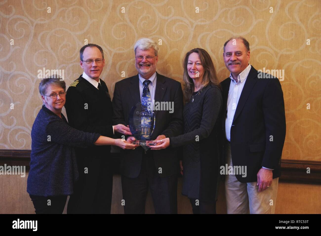 From left to right: Vickie Tuten (National Hearing Conservation Association); Capt., U.S. Public Health Service, David Byrne (National Institute for Occupational Safety and Health); Kurt Yankaskas (Office of Naval Research); Laurie Wells (Council for Accreditation in Occupational Hearing Conservation); and Scott Schneider (Safe-in-Sound Award). Yankaskas received the 2019 Safe-in-Sound Excellence in Hearing Loss Prevention Award for his work managing ONR's Noise-Induced Hearing Loss program. ( - Stock Image