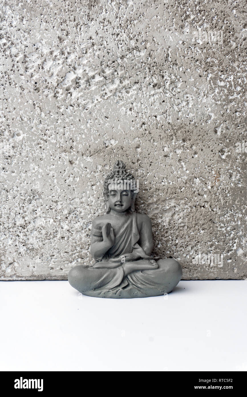 Сoncentration of mind. Yoga concept. Lotus pose. Zen meditation background. Relax minimal concept. Copy space. Stock Photo