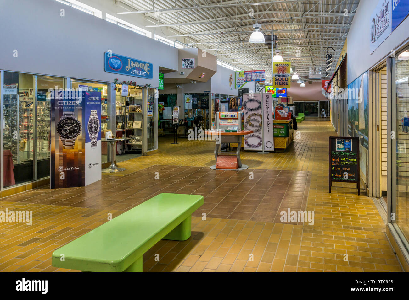 The interior of Marystown Mall. A small local shopping mall in Newfoundland, Canada. - Stock Image