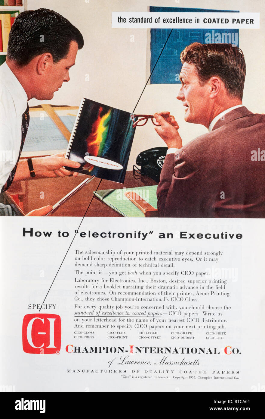 1955 magazine advert for Champion-International Co paper Stock Photo