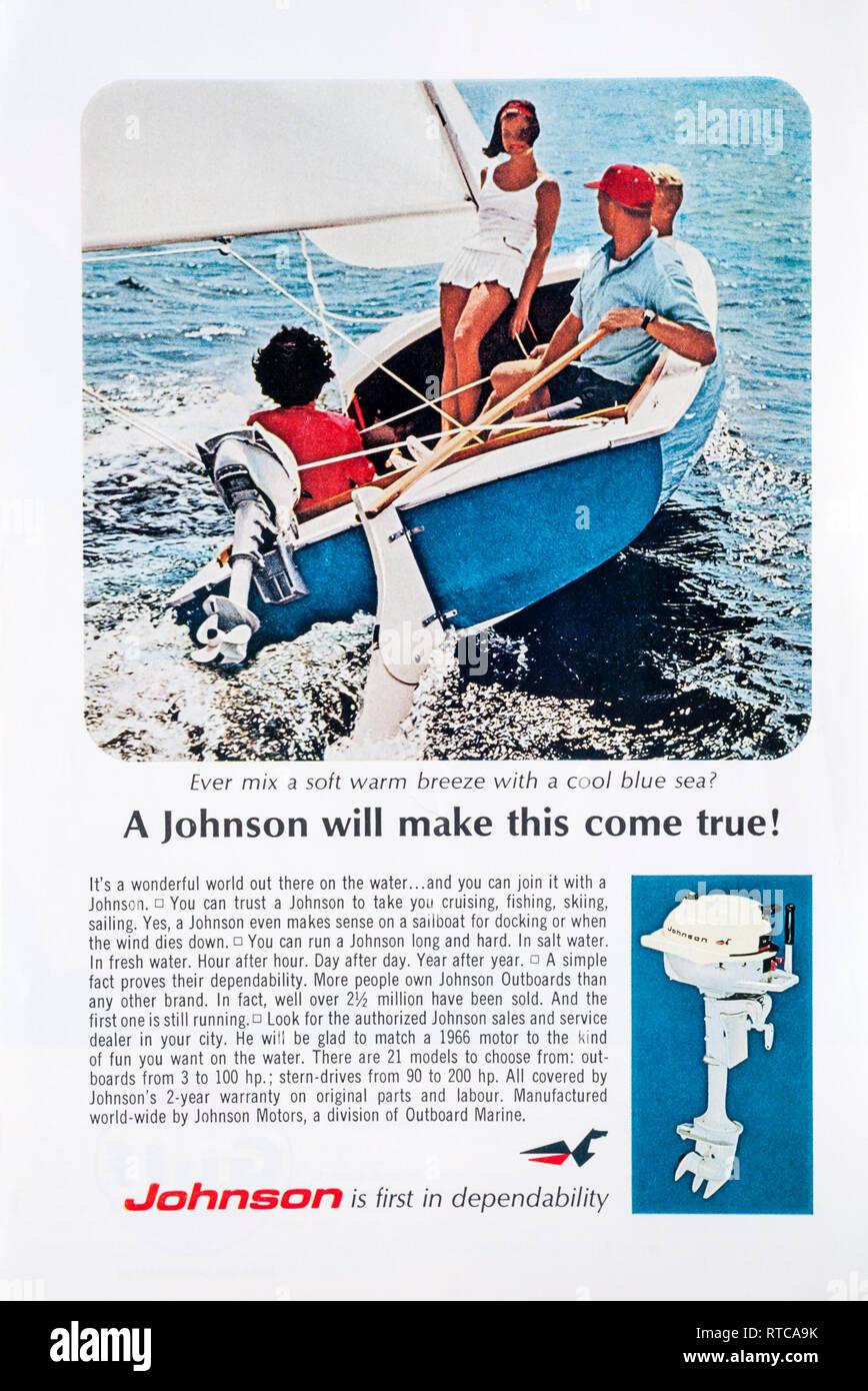 1966 magazine advert for Johnson outboard motors. - Stock Image