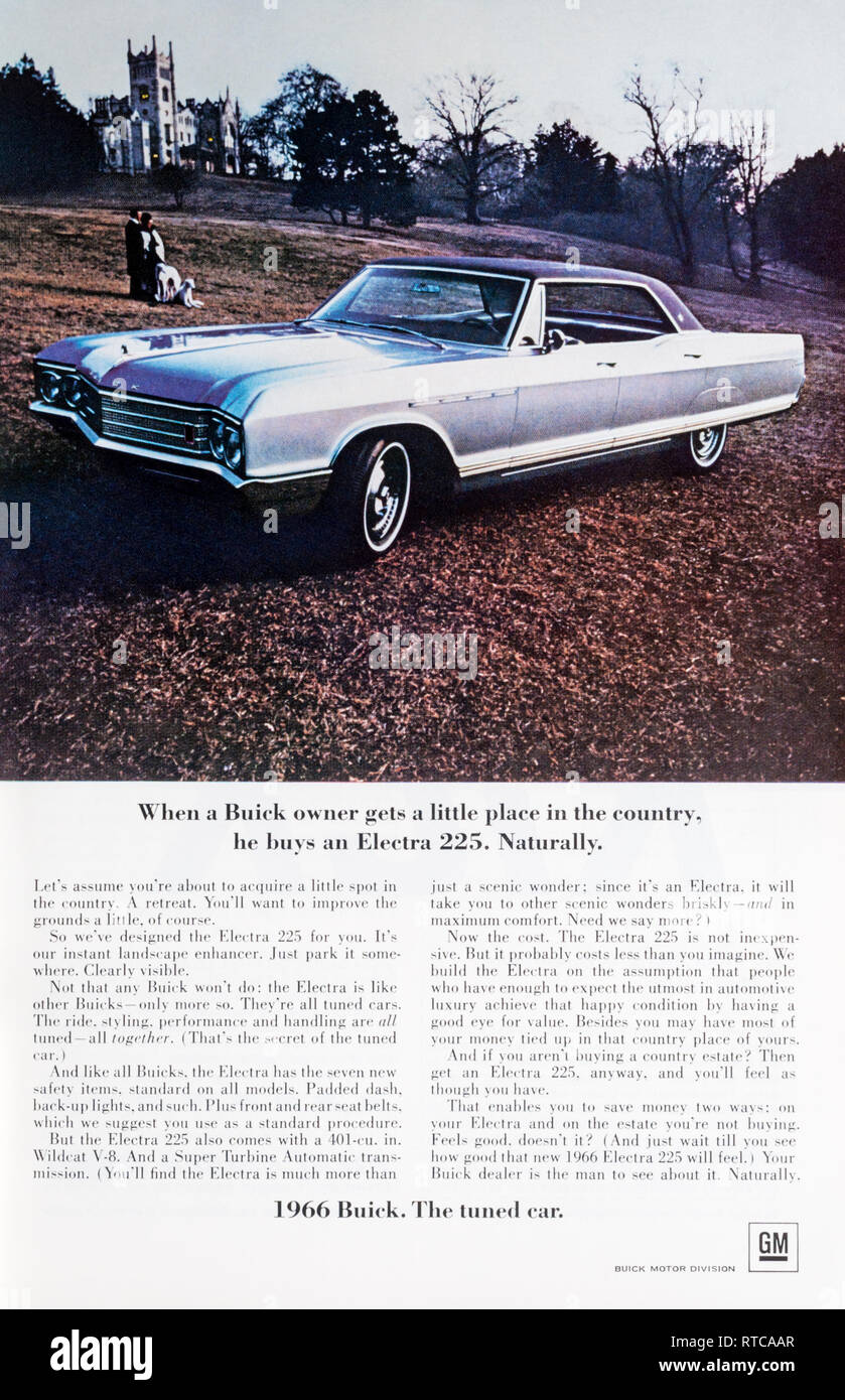 1966 magazine advert for the Buick Electra 225 car. - Stock Image
