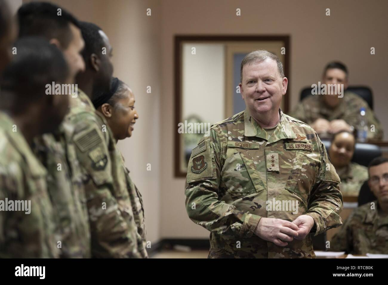 Lt  Gen  Richard Scobee, Air Force Reserve commander, speaks
