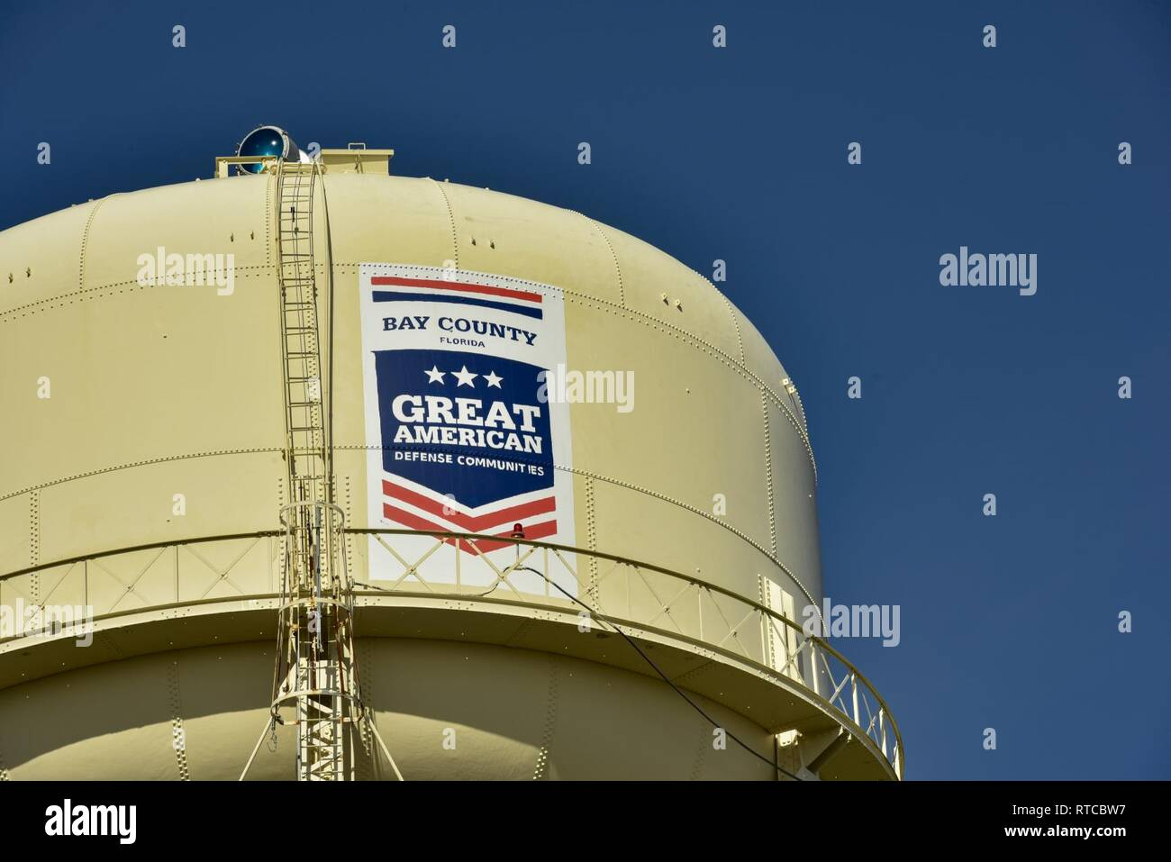 Tyndall Air Force Base's water tower now wears a logo that
