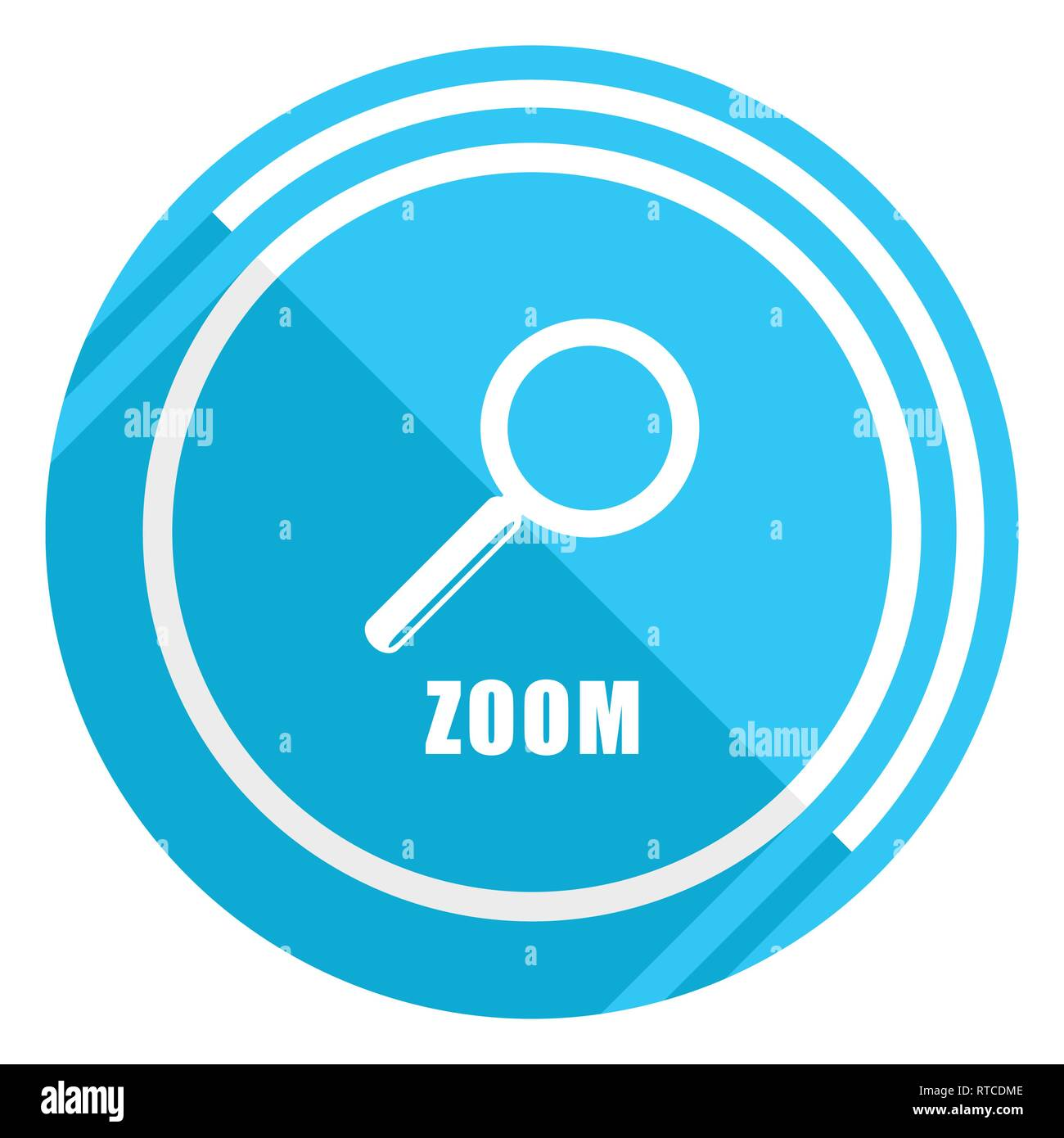 Zoom flat design blue web icon, easy to edit vector illustration for webdesign and mobile applications - Stock Image