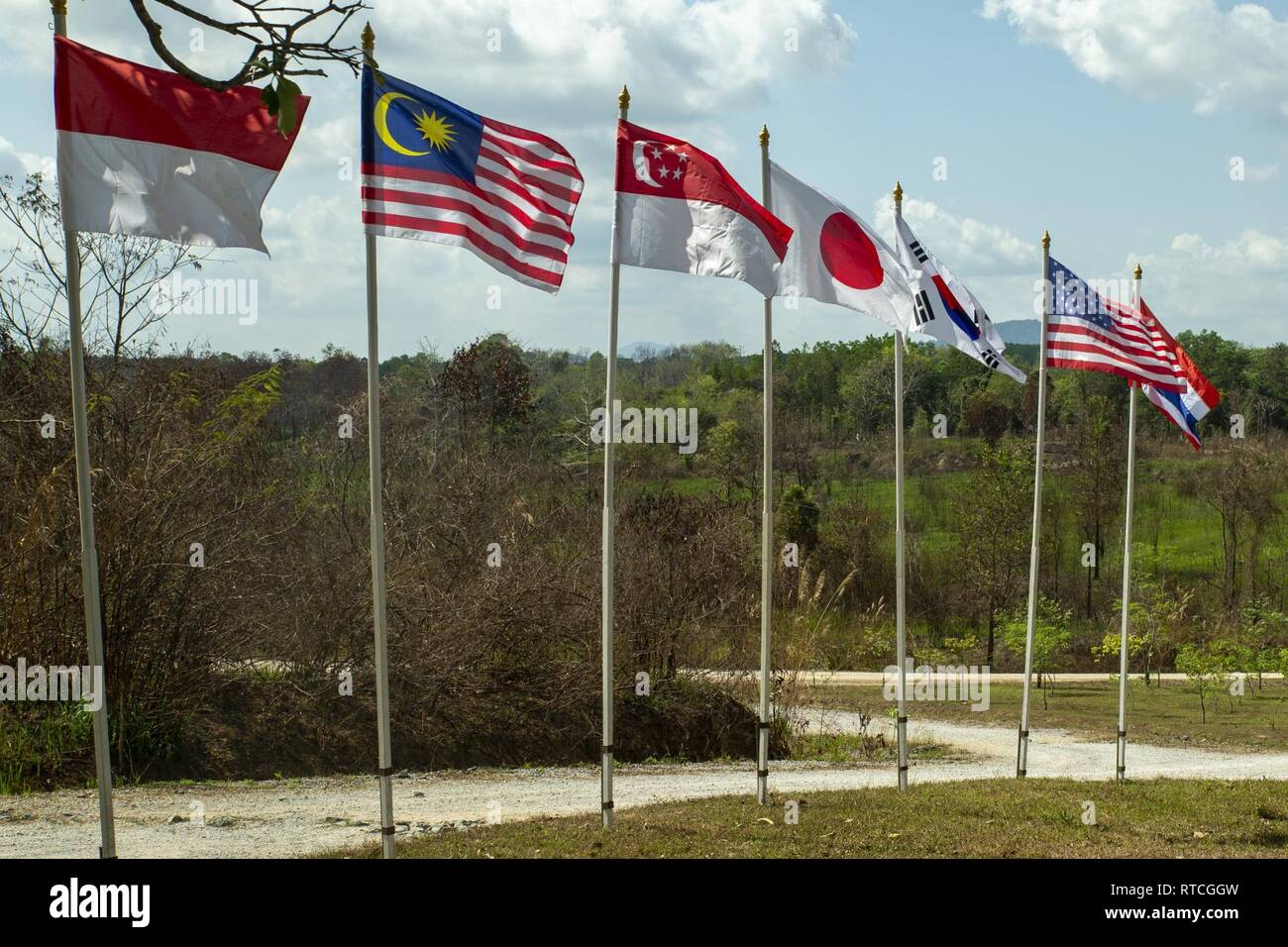 The flags of Exercise Cobra Gold 19's full participating
