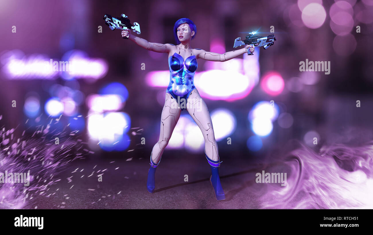 Cyborg girl armed with weapons, female battle robot shooting guns, sci-fi android woman in the night city street, 3D rendering - Stock Image