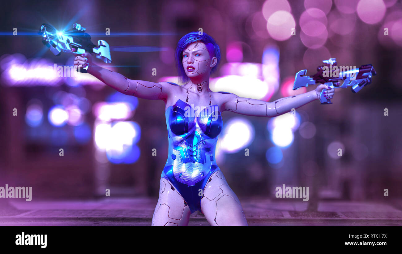 Cyborg girl armed with guns, female battle robot shooting, sci-fi android woman on the night city street, 3D rendering - Stock Image