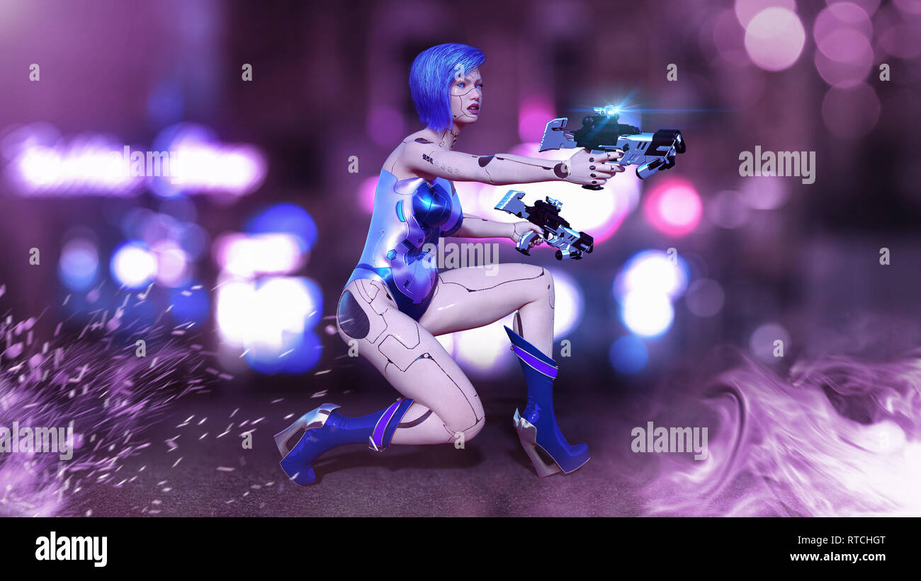 Cyborg girl armed with guns crouching, female battle robot shooting, sci-fi android woman in the night city street, 3D rendering - Stock Image