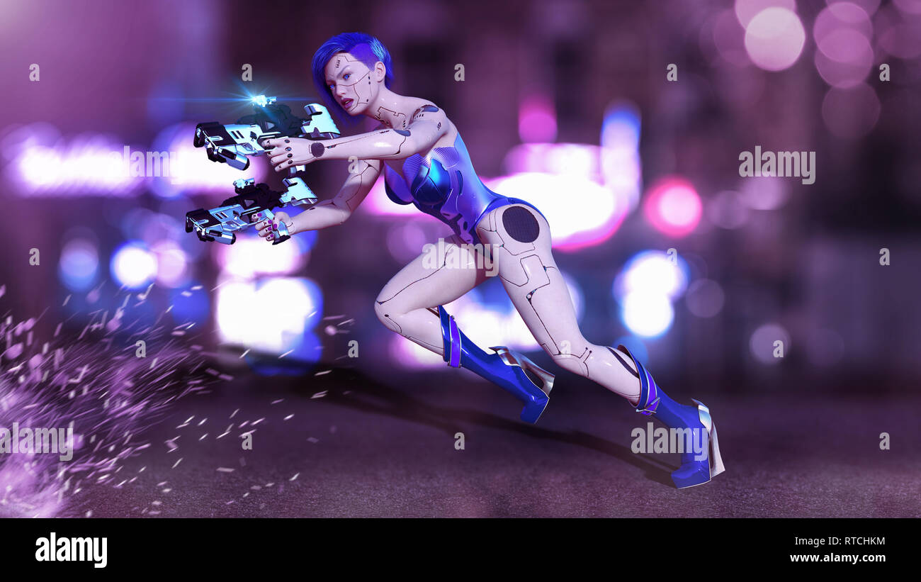 Cyborg girl armed with guns jumping, female battle robot shooting, sci-fi android woman on the night city street, 3D rendering - Stock Image