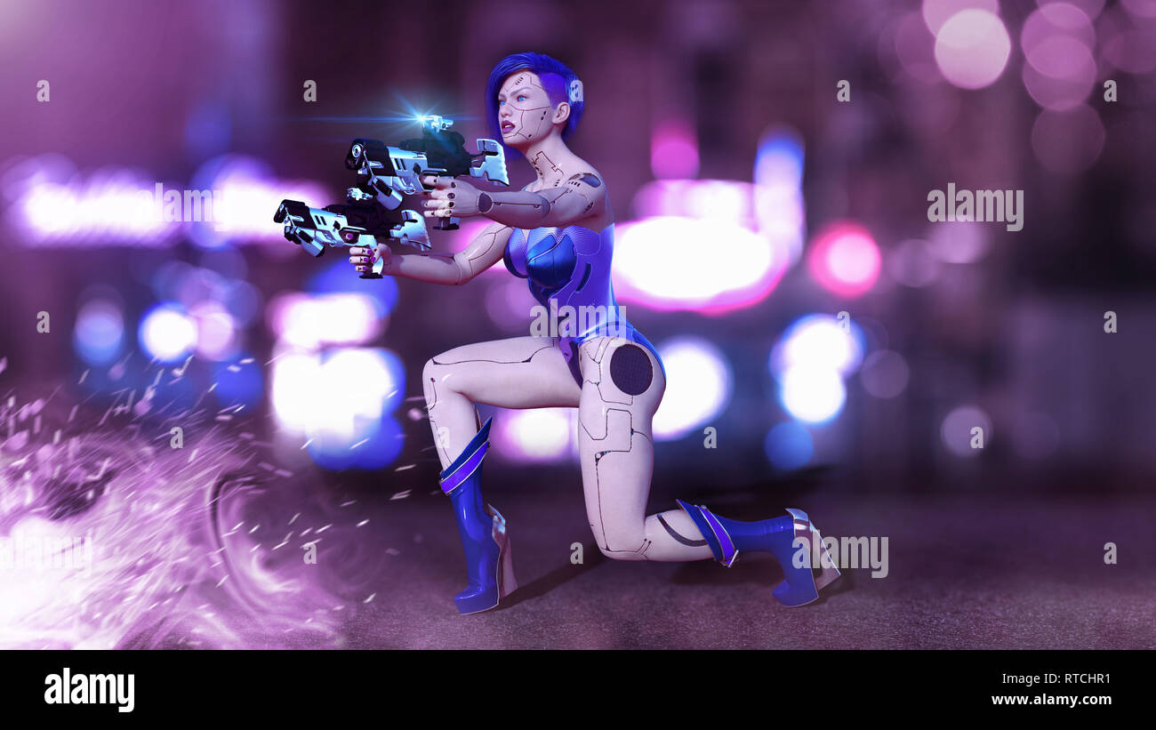 Cyborg girl armed with guns kneeling, female battle robot shooting, sci-fi android woman in the night city street, 3D rendering - Stock Image