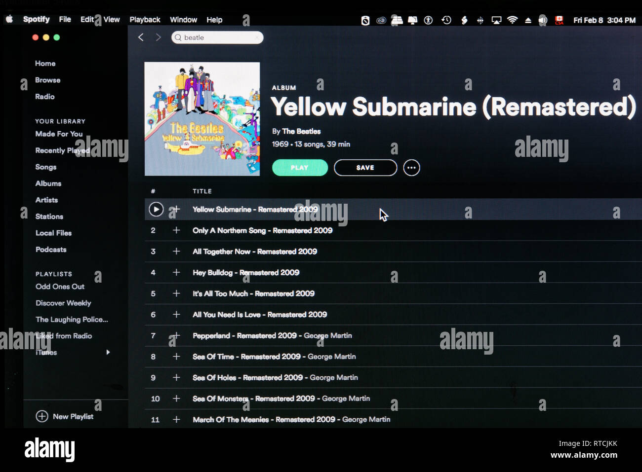 The Beatles album Yellow Submarine Spotify webpage - Stock Image