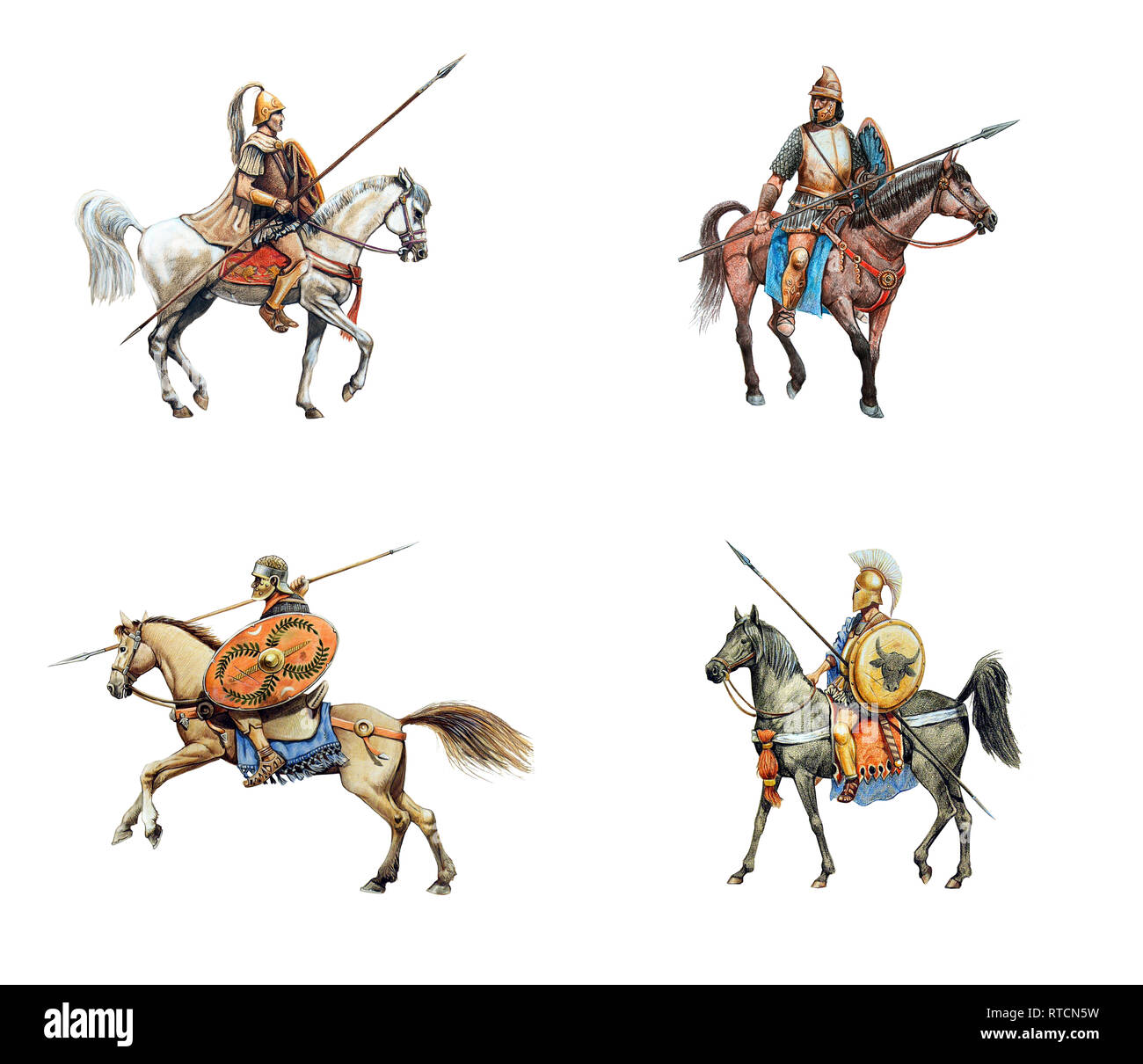Ancient mounted warriors. Set of 4 isolated historical illustration. - Stock Image