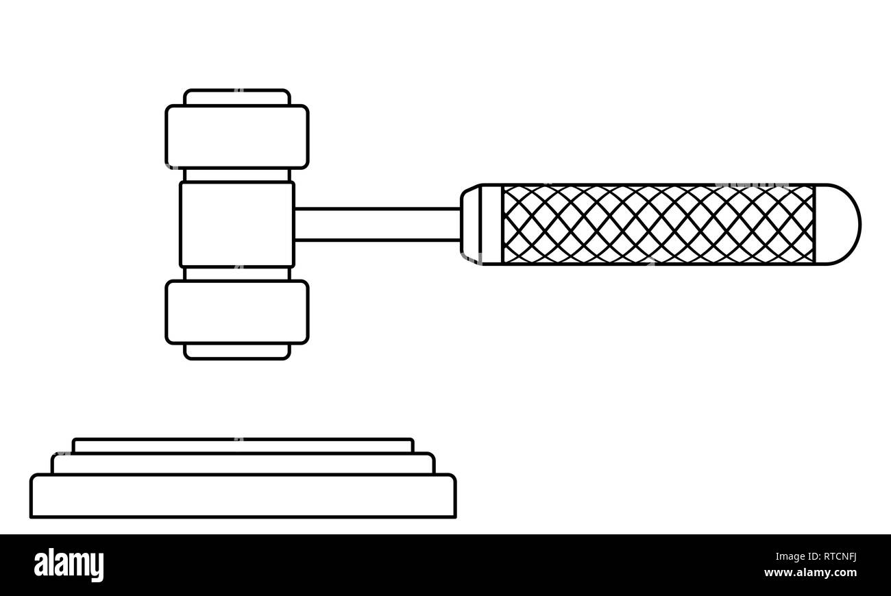 Illustration of the contour judge or auction gavel - Stock Image