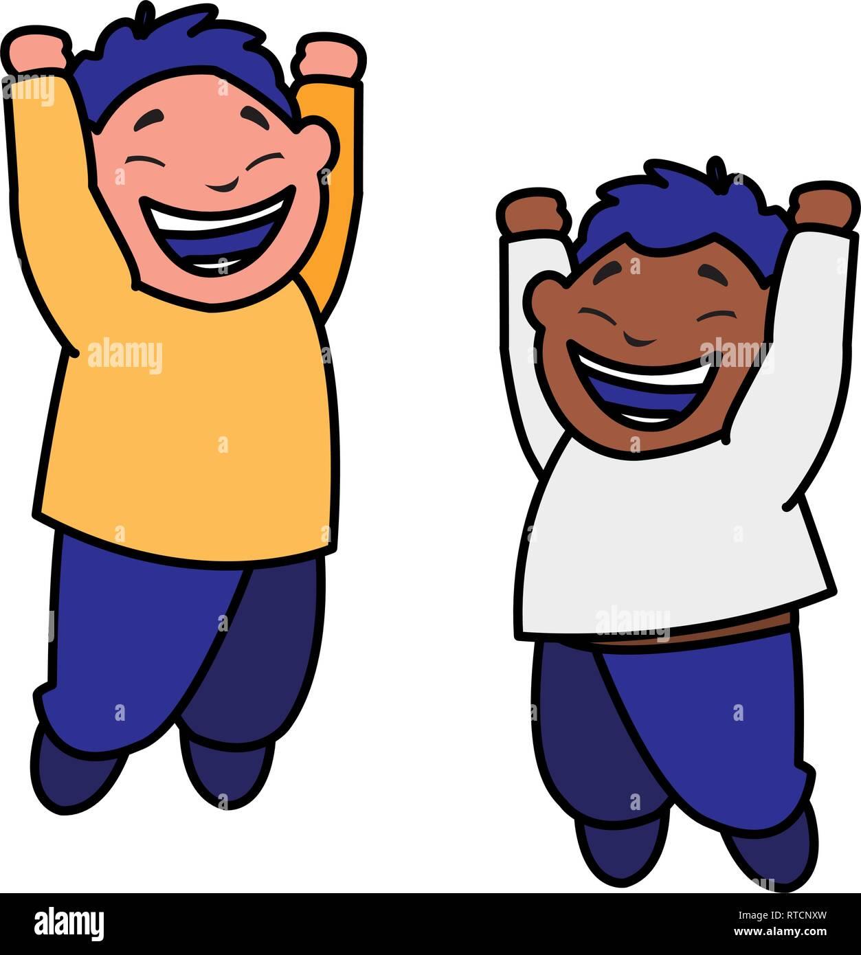 happy interracial boys celebrating vector illustration design - Stock Image