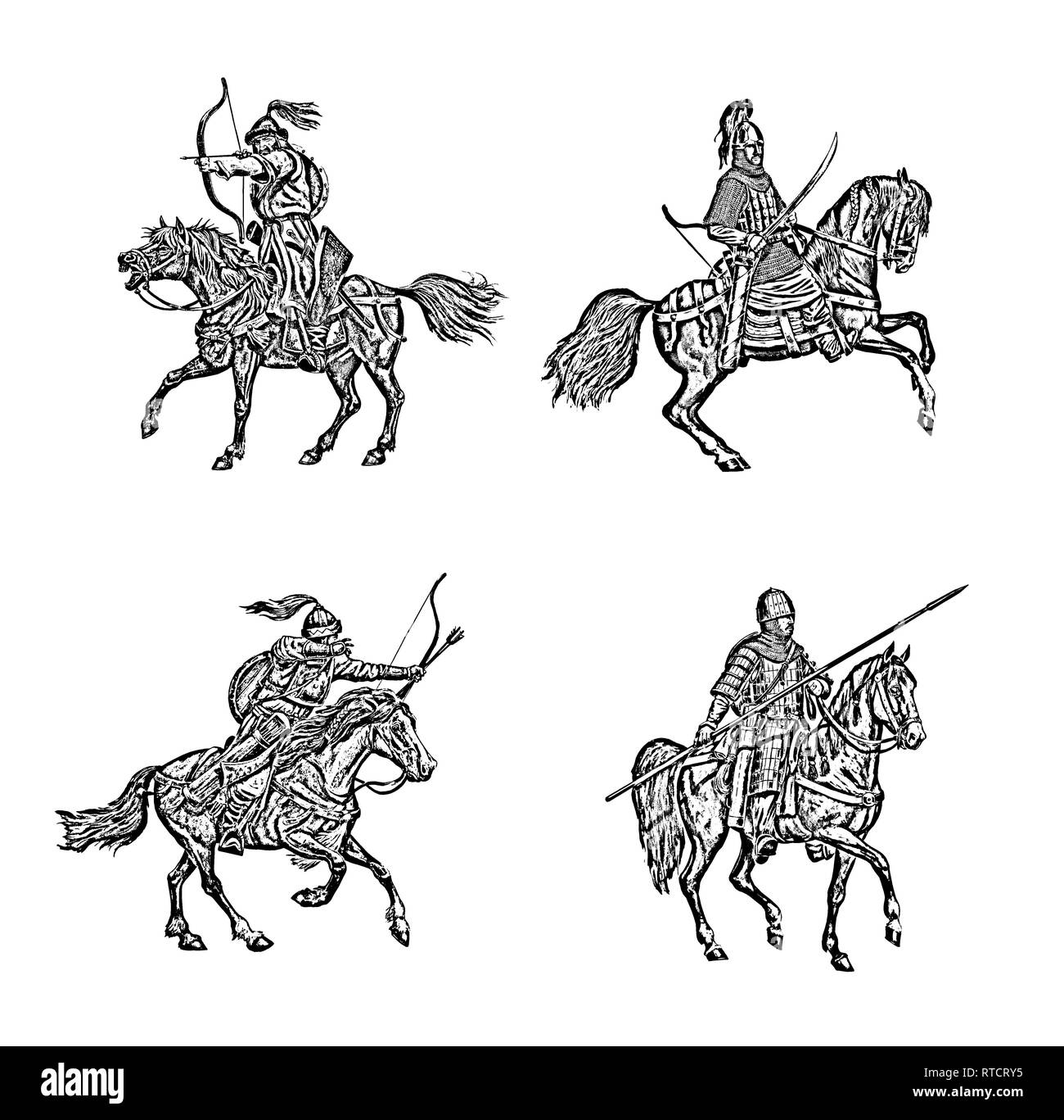 Medieval mounted knights. Heavy armored magyar (hungarian) riders. - Stock Image
