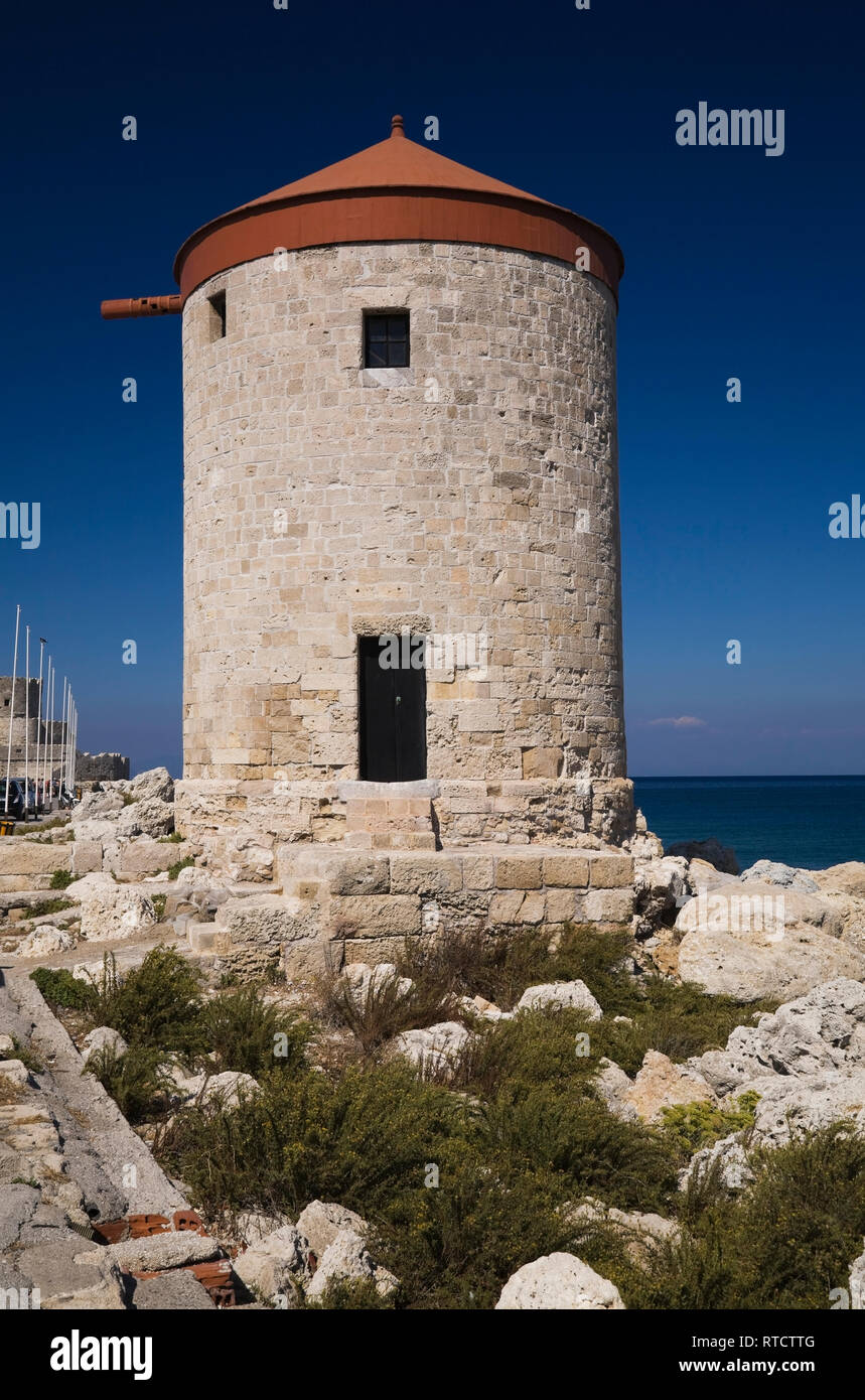 A stone tower near the old Saint-Nicholas fort, Rhodes, Greece - Stock Image